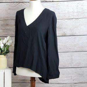 Zara woman black v neck long sleeve shirt blouse